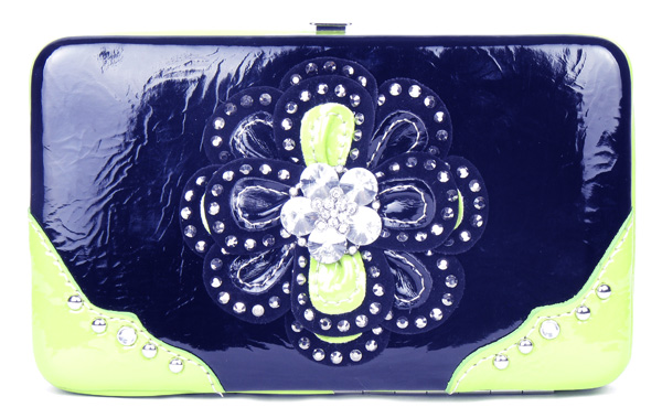 Rhinestone Green Flower Clutch Opera Wallet