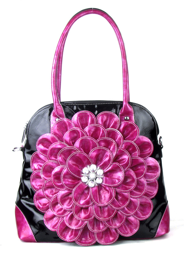 Large Black Pink Flower Rhinestone  Fashion Handbag