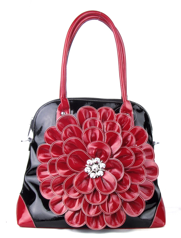 Large Black Red Flower Rhinestone  Fashion Handbag