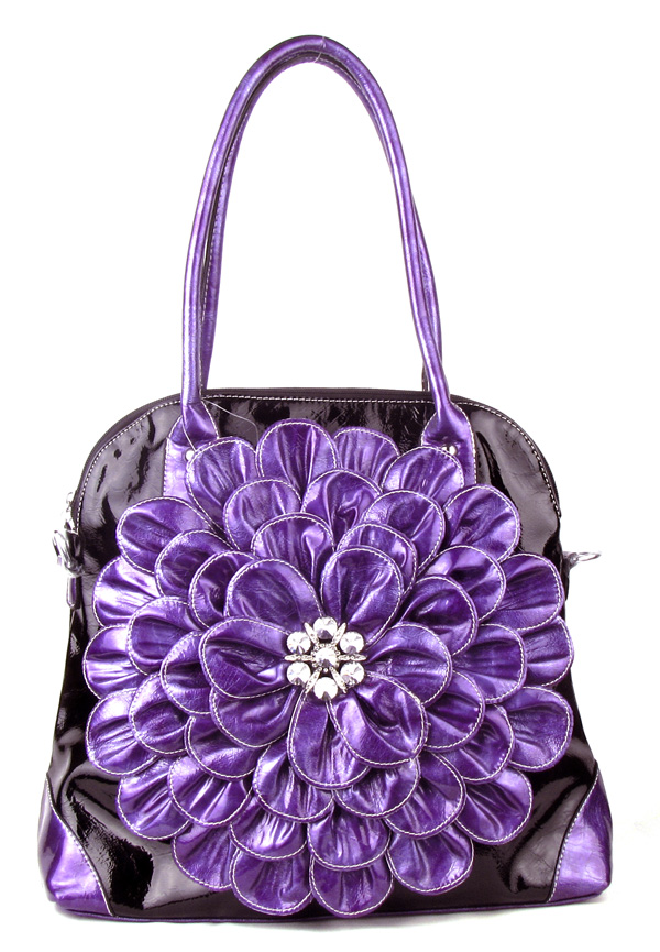Large Black Purple Flower Rhinestone  Fashion Handbag
