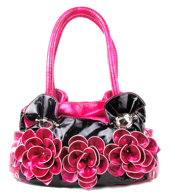 Pink Three Flower Fashion Handbag