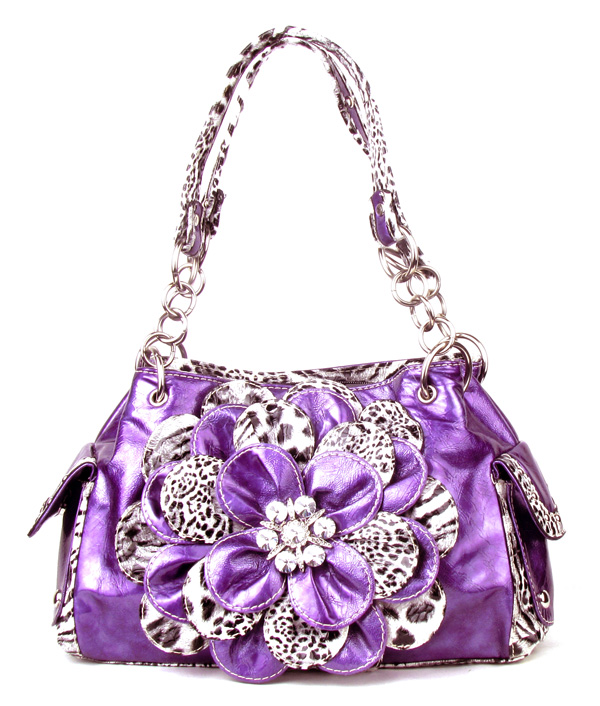 Leopard Purple Flower Rhinestone Handbag