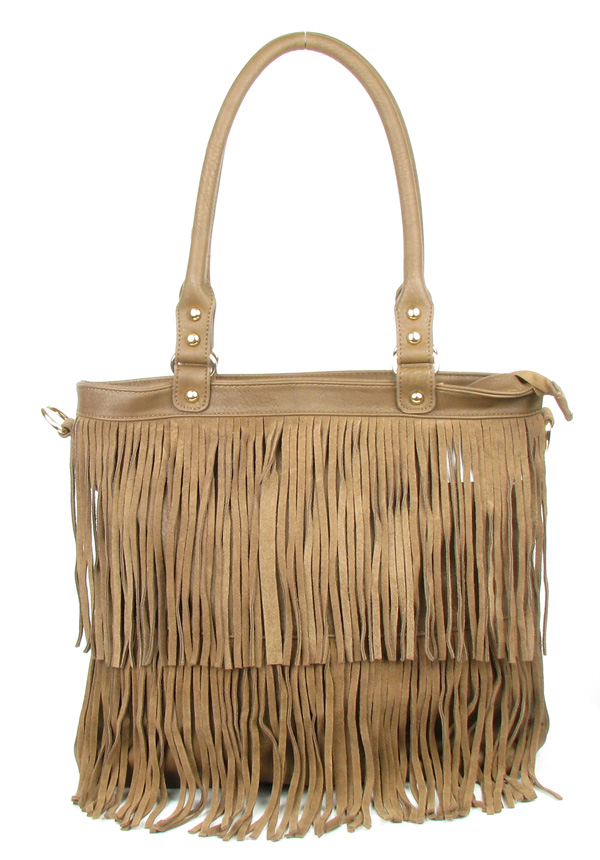 Large Brown Fringe Tassel Fashion Handag