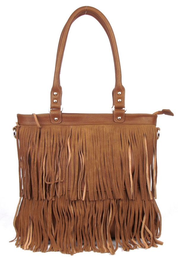 Large Coffee Fringe Tassel Fashion Handag