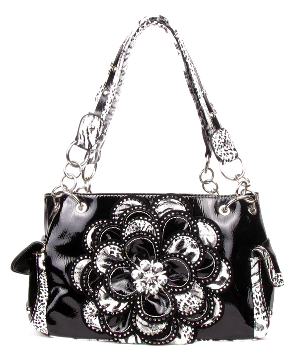 Crystal Leaf Black Leopard Rhinestone Flower Handbag