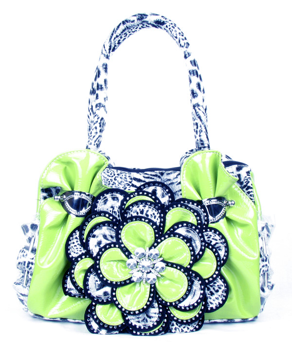 Green Leopard Crystal Leaf Rhinestone Flower Fashion Handbag