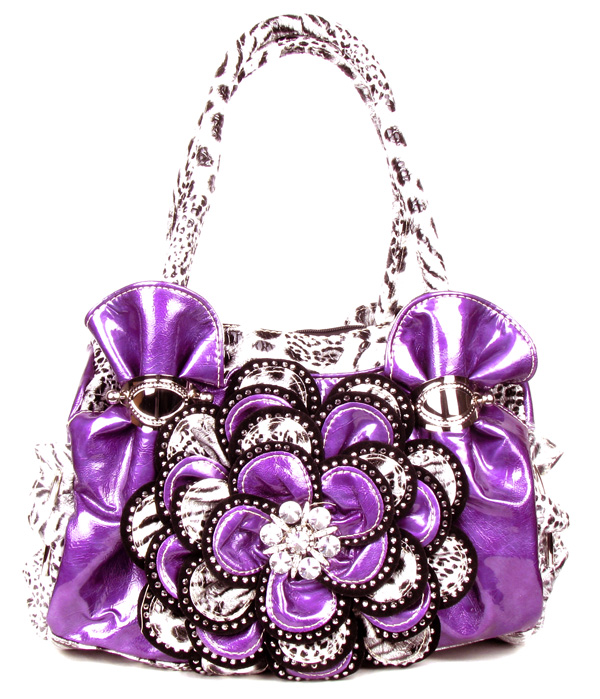 Purple Leopard Crystal Leaf Rhinestone Flower Fashion Handbag