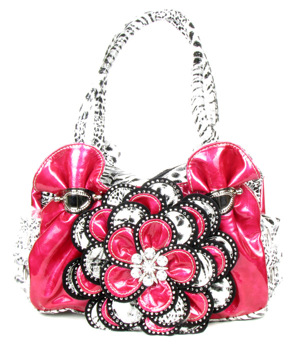 Pink Leopard Crystal Leaf Rhinestone Flower Fashion Handbag