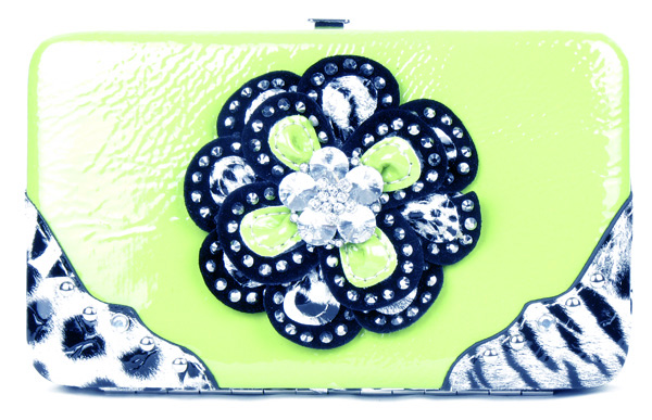 Crystal Leaf Leopard Green Flower Clutch Opera Wallet