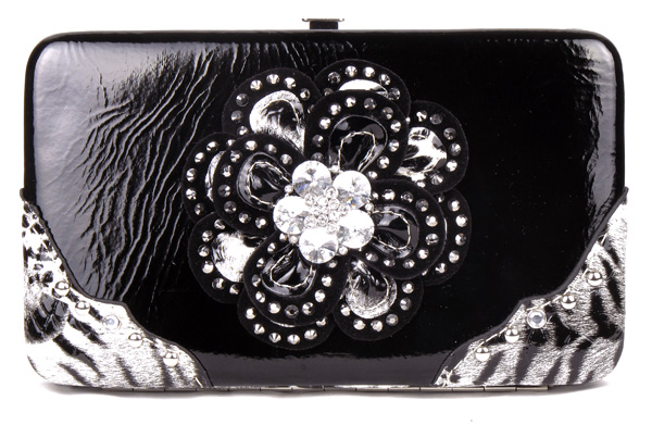 Crystal Leaf Leopard Black Flower Clutch Opera Wallet