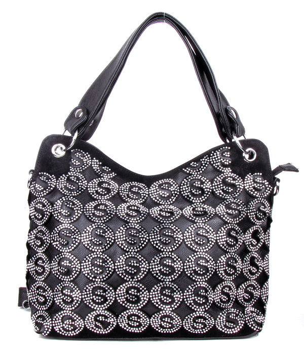 """S"" Black Rhinestone Fashion Handbag"