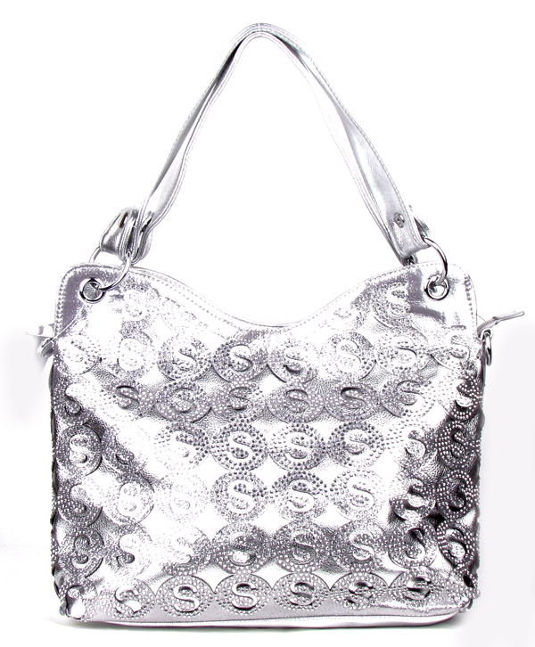 """S"" Silver Rhinestone Fashion Handbag"