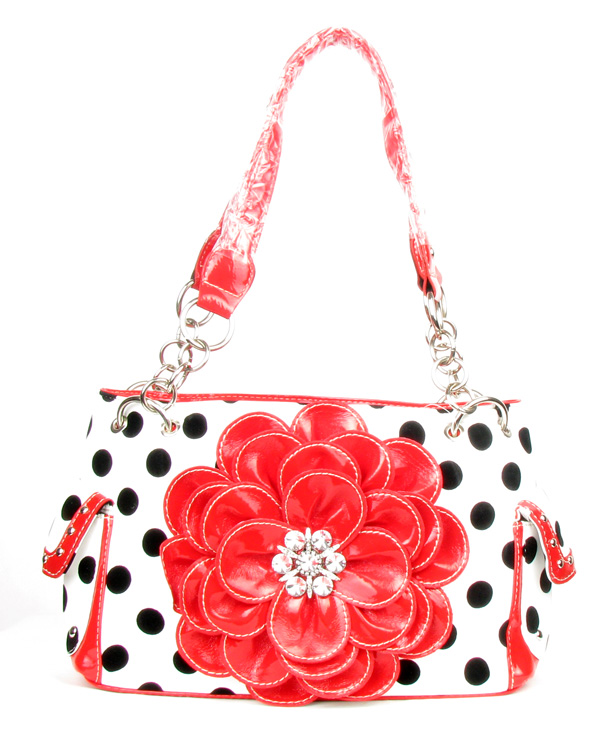 Polka Dot Metal Chain Red Rhinestone Flower Pocket Handbag