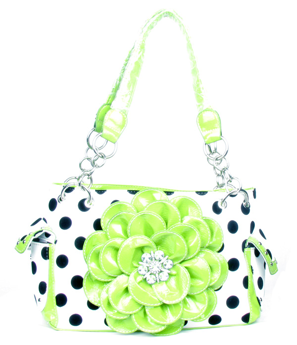 Polka Dot Metal Chain Green Rhinestone Flower Pocket Handbag