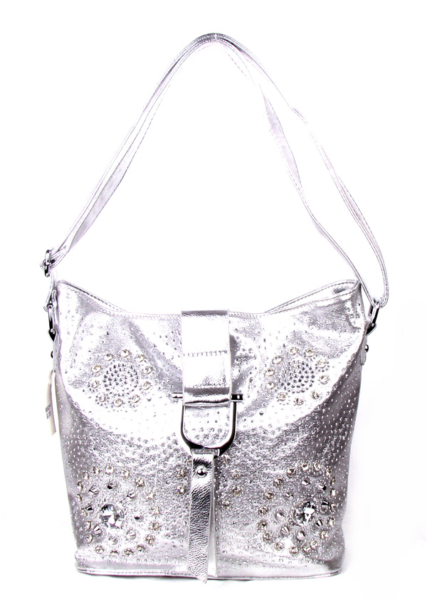 Flower Pattern Silver Rhinestone Fashion Handbag
