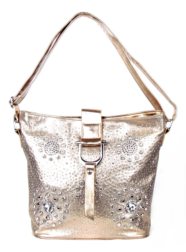 Flower Pattern Golden Rhinestone Fashion Handbag