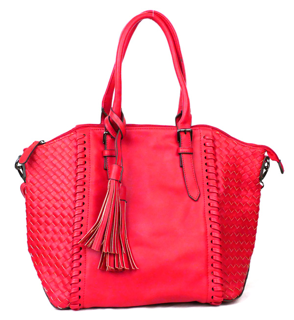 Large Red Braided Fashion Handbag