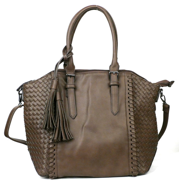 Large Coffee Braided Fashion Handbag