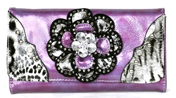 Leopard tri-folder Purple Rhinestone Flower Wallet