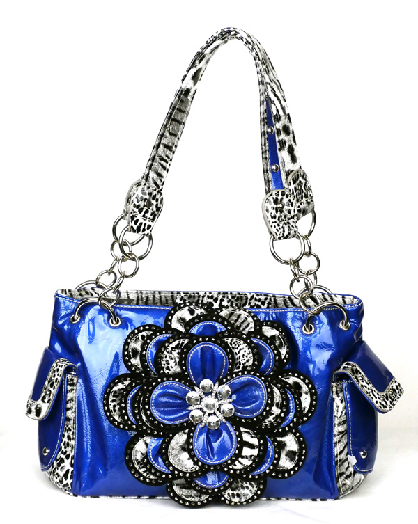 Crystal Leaf Blue Leopard Rhinestone Flower Handbag
