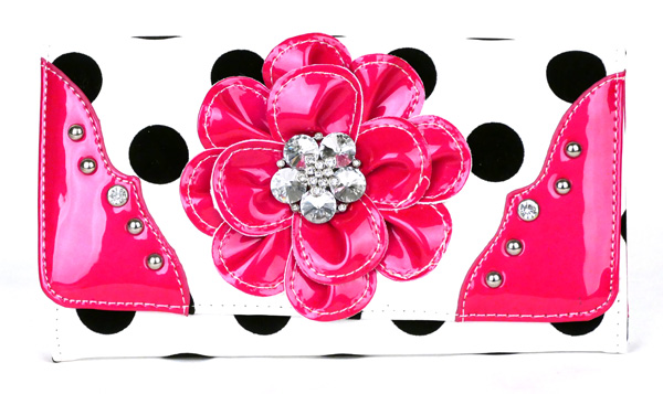 Polka Dot tri-folder Pink Rhinestone Flower Wallet