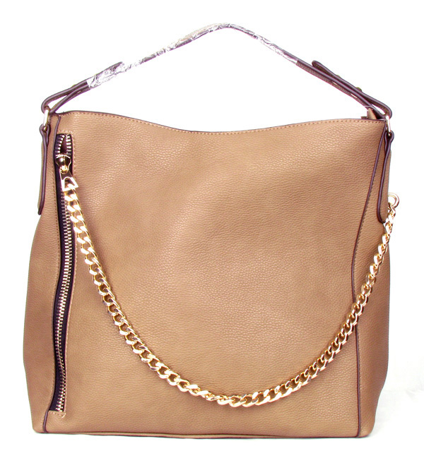 Zipper Chain Khaki Fashion Handbag