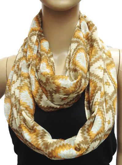 Rhombus Pattern Yellow Circle Loop Infinity Scarf 1