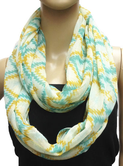 Rhombus Pattern Light Blue Circle Loop Infinity Scarf 2