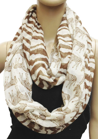 Zebra Brown Pattern Circle Loop Infinity Scarf 8