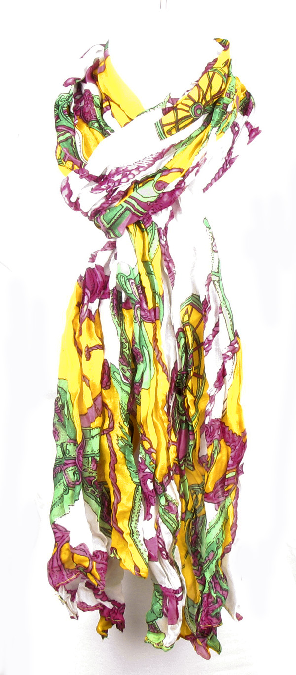 Car Rope Print Yellow Multi-Color Scarf
