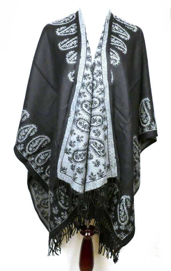 Black Gray Paisley Poncho