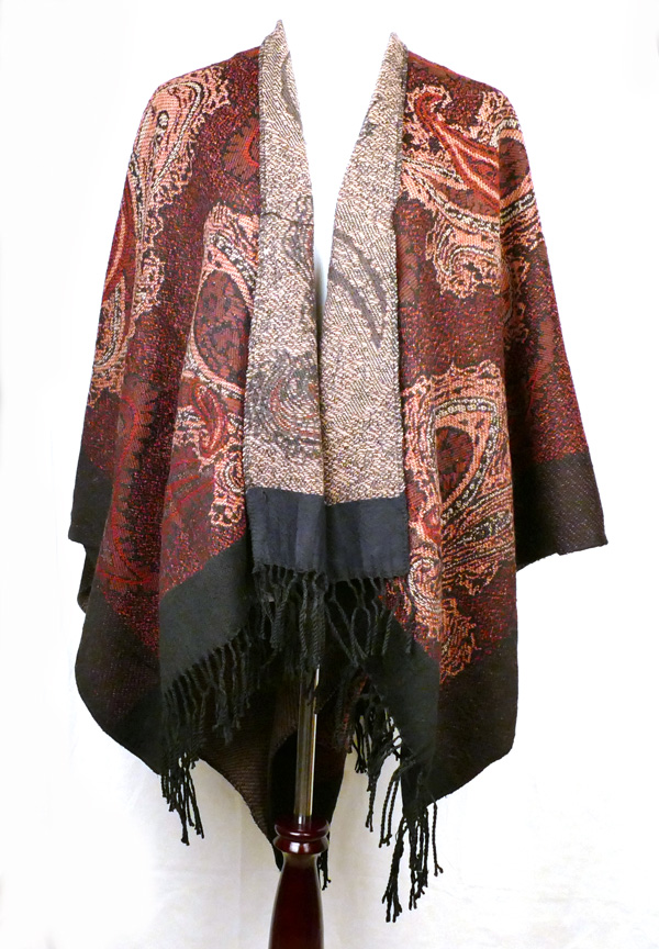 Red Paisley Poncho