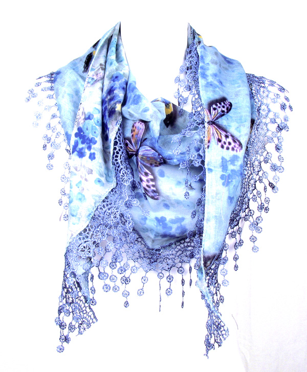 Butterfly Blue Triangle Scarf