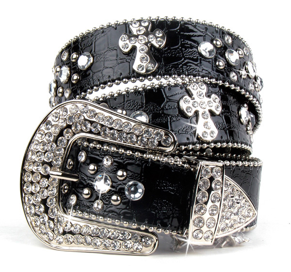Black Leather Rhinestone Crystal Cross Belt