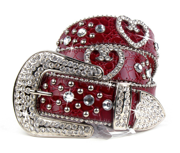 Red Leather Rhinestone Crystal Heart Belt