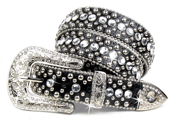 Black Leather Crystal Rhinestone Belt