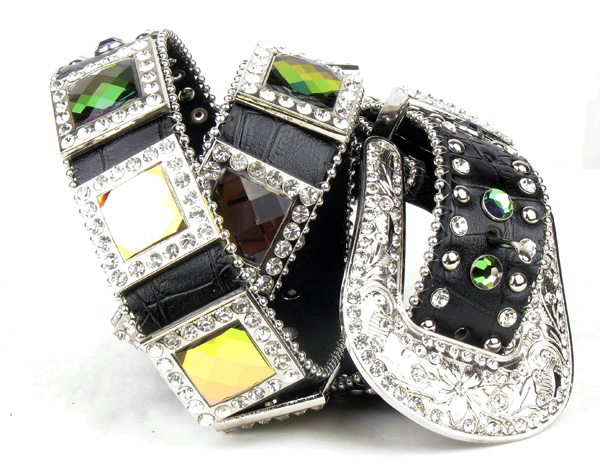 Black Leather Crystal All Volcano Square Belt