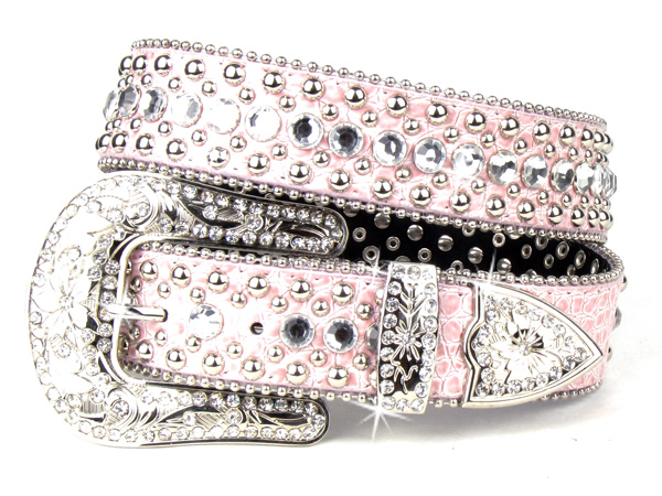 Pink Leather Crystal Rhinestone Belt