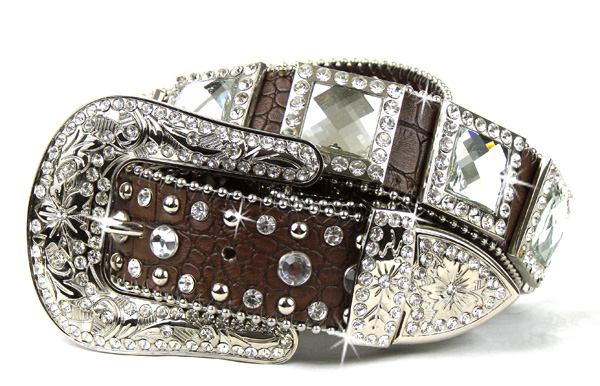 Brown Leather Crystal Square Cross Belt