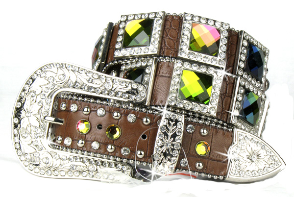 Brown Leather Crystal All Volcano Square Belt