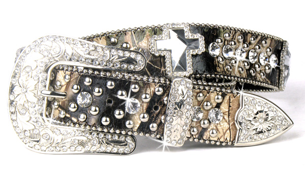 Camouflage Leather Rhinestone Crystal Cross Belt