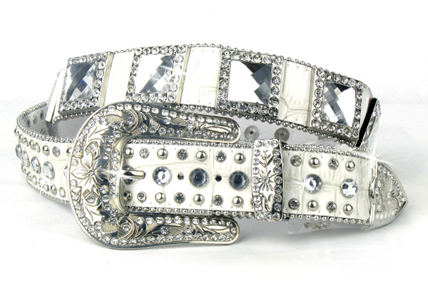 White Leather Crystal All Square Belt