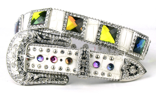 White Leather Crystal All Volcano Square Belt