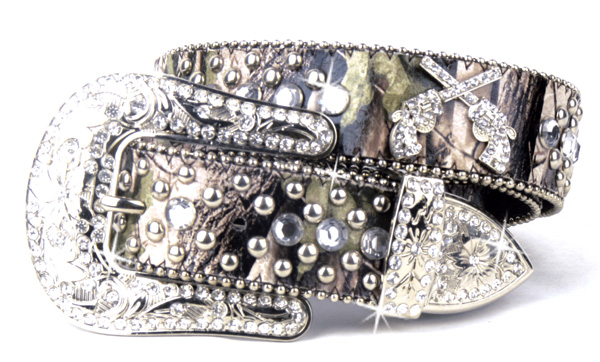 Camouflage Leather Rhinestone Crystal Pistal Belt