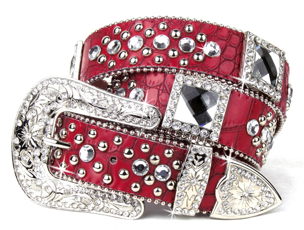 Red Leather Rhinestone Crystal Square Belt