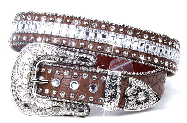 Brown Leather Crystal Rhinestone Belt