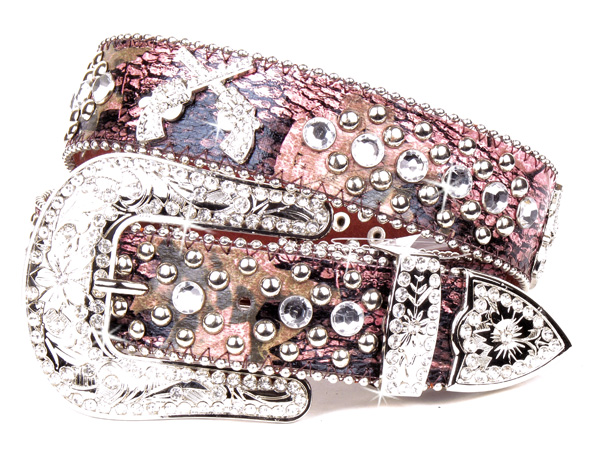 Pink Camouflage Print Leather Rhinestone Crystal Pistal Belt