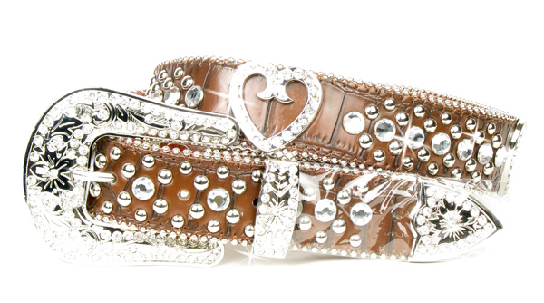 Brown Leather Rhinestone Crystal Heart Belt