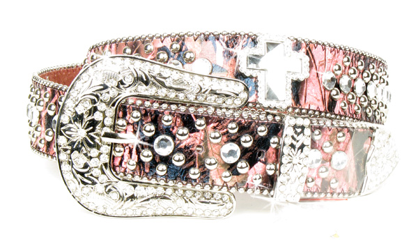 Pink Camouflage Print Leather Rhinestone Crystal Cross Belt
