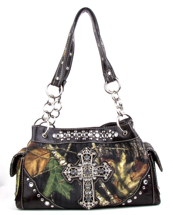 Western Coffee Camouflage Cross Rhinestone Handbag
